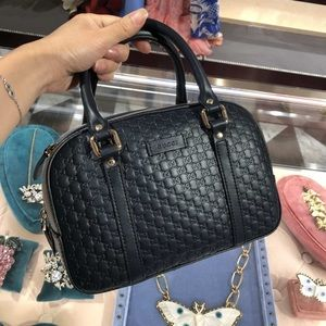 Gucci Guccissima Camelia Leather Emily Bag NAVY